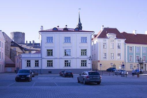 Estonia, Tallinn, Center, Architecture, Blue, Evening