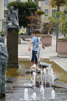Child, Boy, Play, Cool Down, Cooling, Summer, Fountain