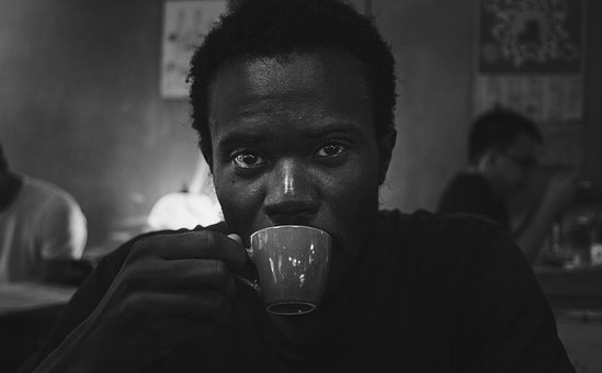 Portrait, Coffee, Young, Face, Black And White, Male