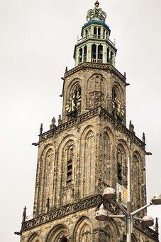 Grote, Market, Groningen, Church, Tower, City, Religion