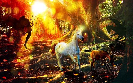 Fantasy, Unicorn, Forest, Fairy, Magic, Mystical