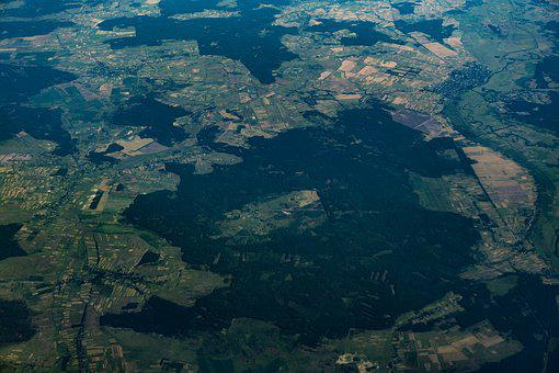 Aerial, Flight, View, City View, Europe, Forest, Planet