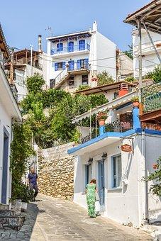 Greece, Skopelos, Glossa, Village, Street, Houses