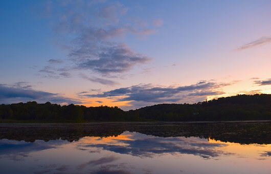 Sunset, Lake, Clouds, Water, Sky, Nature, Landscape