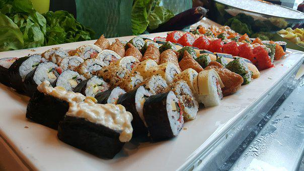 Sushi, Japanese, Seafood, Salmon, Rice, Delicious