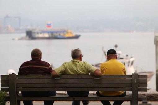 Grandparents, Grandpa, Old, Retired, Sitting, Bench