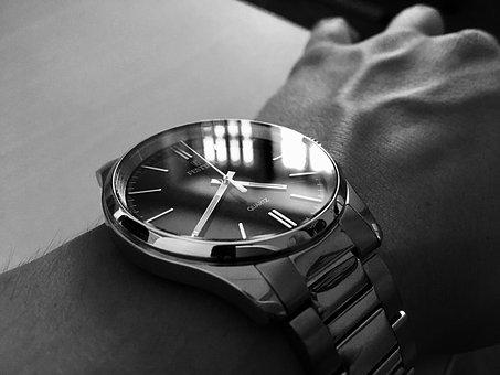 Wristwatch, Watch, Bw, Hand, Black, White, Festina