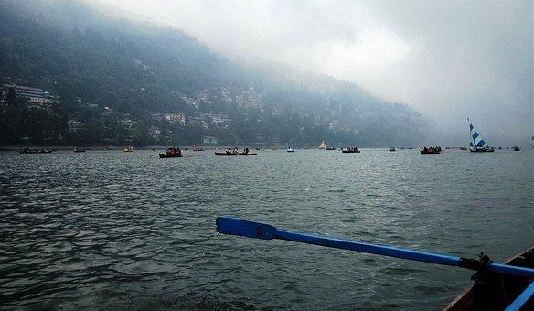 Nainital India, Lake, Stormy Weather, Boats