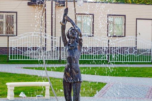 Borovsk, Russia, Girl, Fountain, Sculpture, Rain