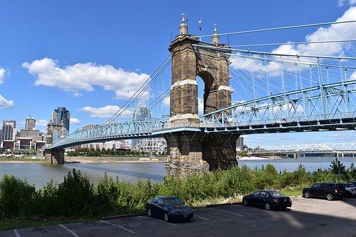 Bridge, Roebling Bridge, Suspension, River, Ohio