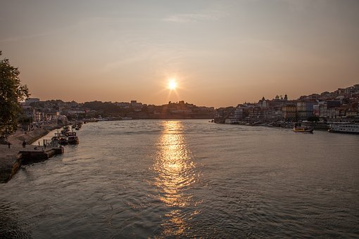 Douro, Portugal, Postage, River, Sunset, Water, City