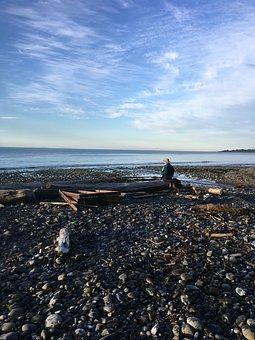 Beach, Shore, Man, Thinking, Sky, Sand, Coast, Water