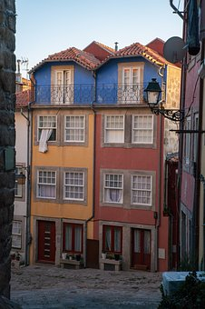 Postage, Portugal, Houses, House, Color, Colorful