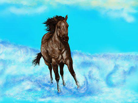 Horse, Water, Painting, Digital Artwork