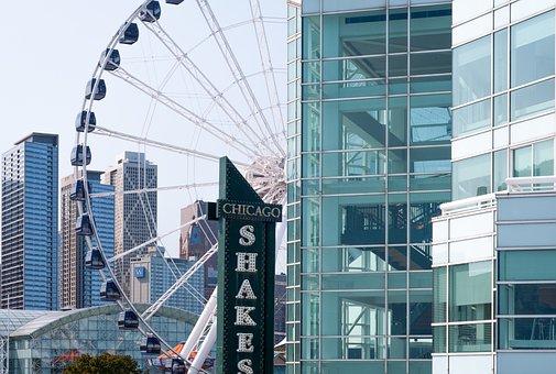 Ferris Wheel, Navy Pier, Chicago, Glass Building