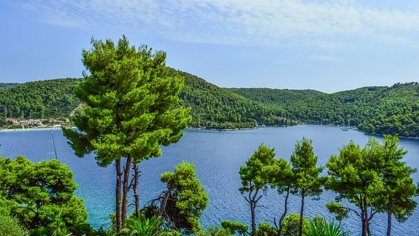 Greece, Skopelos, Andrines, Landscape, Trees, Island