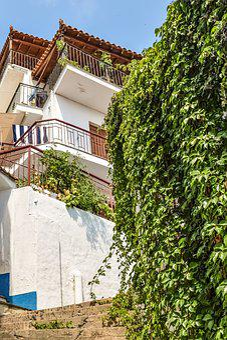 Greece, Skopelos, Glossa, Village, Street, House, Ivy