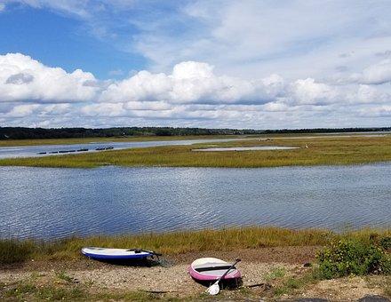 Coastal, Kayaks, Maine, Water, Tidal, Clouds, Sky
