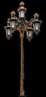 Lantern, Mehrarmig, Gilded, Old, Blacksmithing