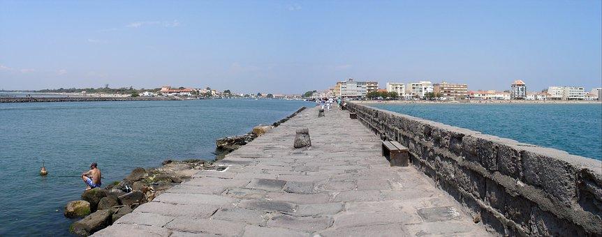Panorama, Sea, Beach, Holiday, Le Grau D'agde, Pier