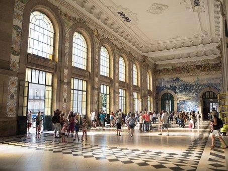 Porto, Portugal, Railway Station, Tiles, Tile, Tourism
