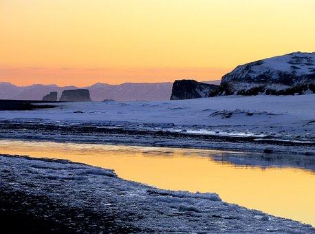 Ocean, Volcano, Mountains, Rocks, Sunset, Seascape, Sea
