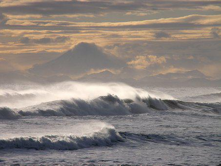 Ocean, Volcano, Storm, Mountains, Wave, Sunset