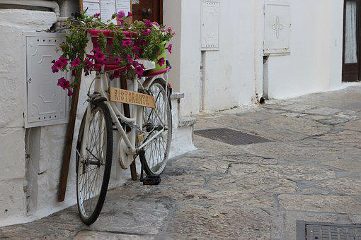 Bicycle, Restaurant, Flowers, Planter, Summer, Puglia