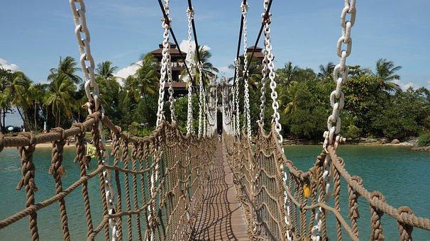 Suspension Bridge, Rope, Bridge, Seaside, Tourism