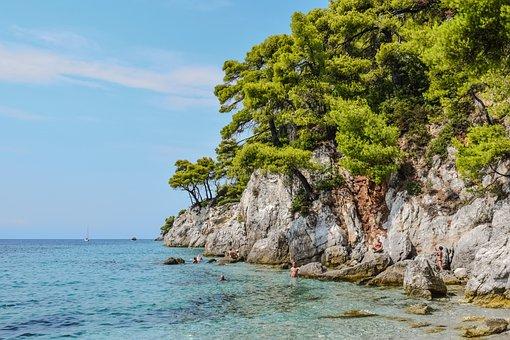 Greece, Skopelos, Beach, Cliff, Trees, Rock, Sea