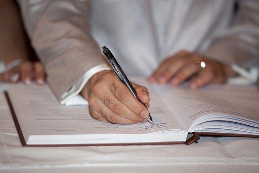 Signature, Sign, To Write, Pen, Biro, Pencil, Marriage