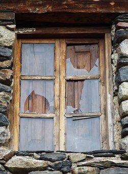 Window, Old, Broken Glass, Rural Architecture