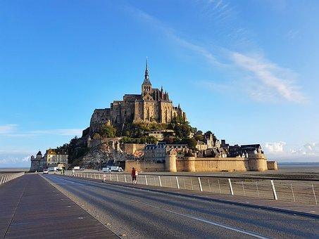 Mont Saint Michel, Castle, Village, France, Hill, Abbey