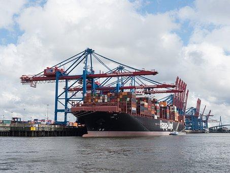 Container Ship, Port, Hamburg, Harbour Cranes
