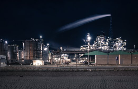 Industry, Plant, Night, Industrial, Factory, Production