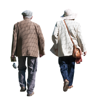 Old, Pensioners, Isolated, Man, Woman, Walking, Senior
