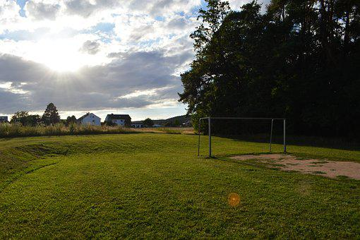 Sports Ground, Meadow, Football Goal, Football