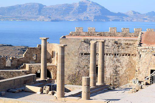 Lindos Acropolis, Greece, Rhodes, Ancient, Historical