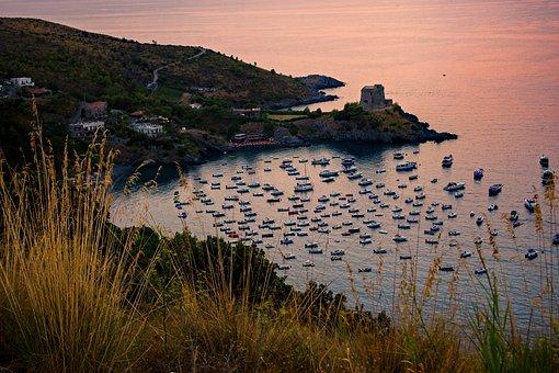 Bay, Watchtower, Sunset, Sea, San Nicola Arcella