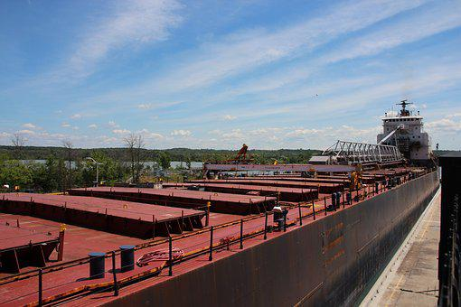 Ship, Freighter, Shipping, Channel, Transport, Waterway