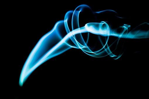 Smoke, Curl, Black Backdrop, Motion, Flow, Curve, White