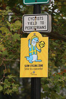 Cyclist, Pedestrians, Slow Zone, Sign, Otter, Vancouver
