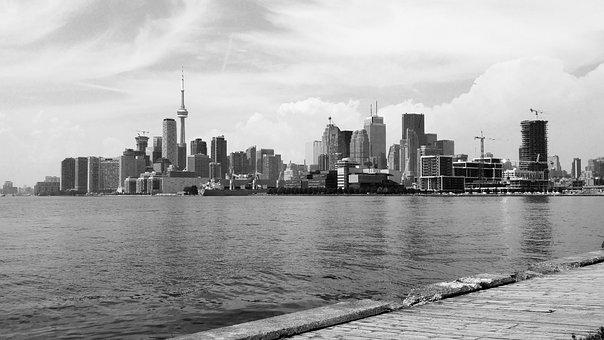 Toronto, Black And White, City, Landscape, View