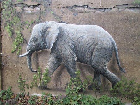 Elephant, Wall Art, Wall, Zoo, Berlin, Lichtenberg