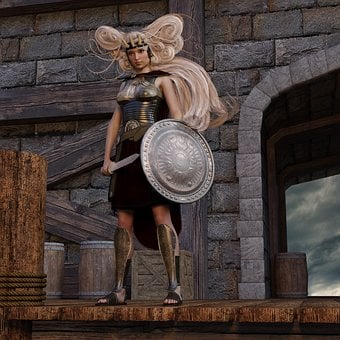 Amazone, Schildmeid, Middle Ages, Woman, Fighter, Armor