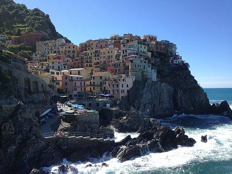 Cinque Terre, Sea, Italy, Houses, Colors, Beach