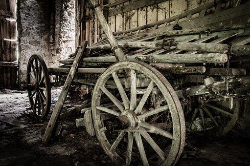 Old, Cart, Farm, Horse Drawn Carriage, Old Farmhouse