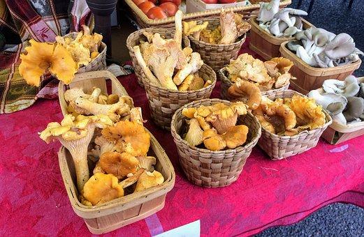 Market, Farmers Market, Mushrooms, Food, Fresh, Produce