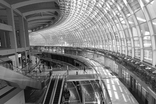 B W, Building, Interior, Black, White, Curves