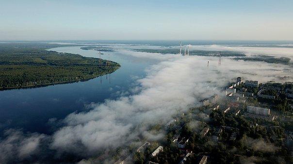 Fog, River, Nature, Landscape, Morning, Reflection